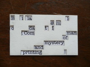 A laser cut version of the decoder business card